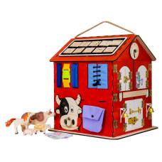 "Бизиборд - Развивающий домик со светом - ""Ферма"" 30х30х40 см (KidClever)"
