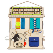 "Бизиборд ""Яблочный домик"" со светом 30х30х40 см (KidClever)"