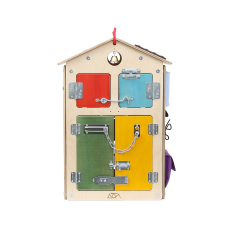 Бизиборд Занятный домик Деревянный (40х40х60)